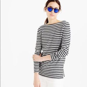 J. Crew LS Top Gray & Black Striped Tunic sz XXS